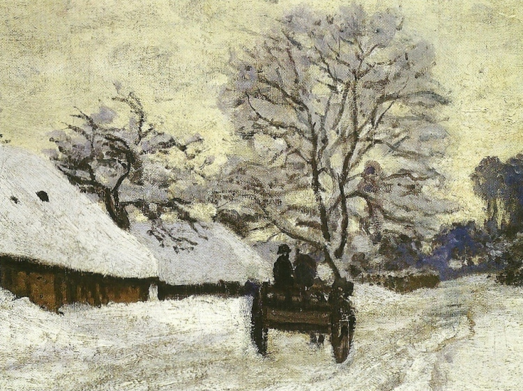 A Cart on the Snowy Road at Honfleur, Snow