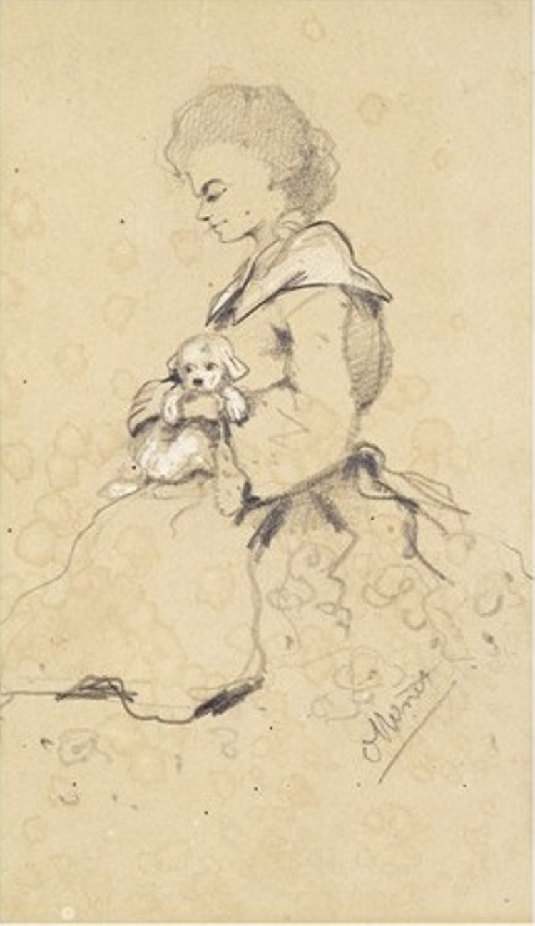 Woman Holding a Small Dog